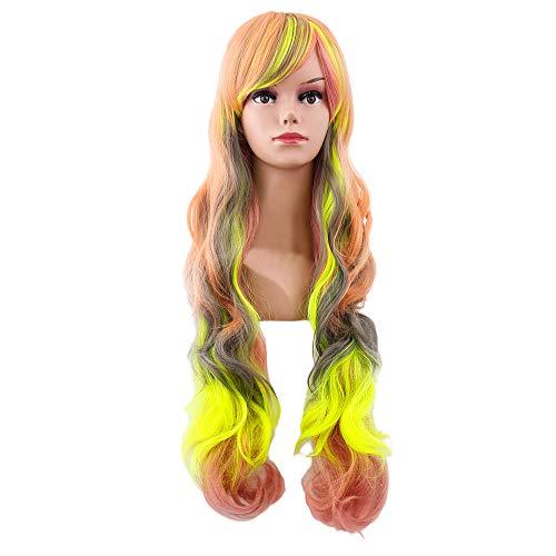 (Junjie New Clearance Frauen Sexy Damen Perücken Hitzeresistente Synthetik gerade Perücke Natürlich aussehende Glueless Brown Wavy Braun Gemischt Perücke)