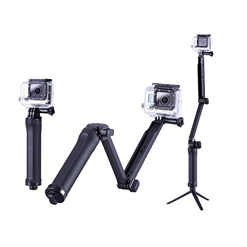 Mobilegear 3 in 1 Adjustable Selfie Stick Monopod, Camera Grip Holder & Tripod With Extended Arm For Gopro, SJCAM, Yi & Other Action Cameras