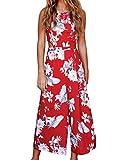 FANCYINN Frauen Blumen Rückenfrei Lange Overalls Spielanzug Breites Bein rot L