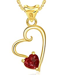 V. K. Jewels Red Stone Gold And Rhodium Plated Alloy Pendant With Chain For Women