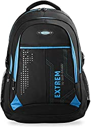large men's backpack school bag leisure bag brand bag Bag Street work bag, black / blue, dimensions: 32 cm x 47 cm x 20 cm