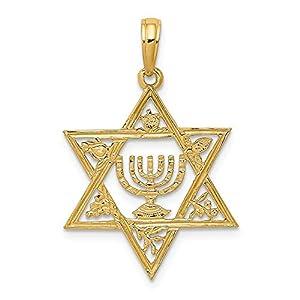 Diamond2deal Anhänger Davidstern mit Menora 14 Karat Gelbgold