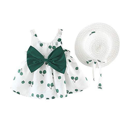 chen Kleid mit Bowknot Baby Kids ärmellose Kirsch Prinzessin Kleider Bow Hut Outfits ()