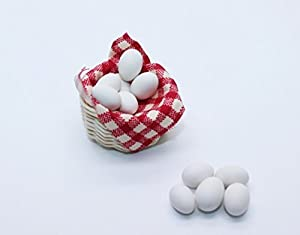 Mini oeuf ensemble dans le panier blanc Dollhouse miniature alimentation artisanale