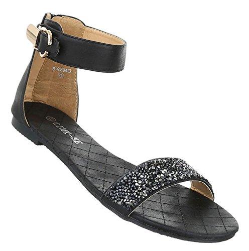 Damen Sandalen Schuhe Strandschuhe Sommerschuhe Pumps Schwarz