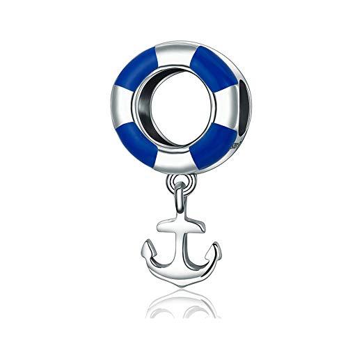 Reiko Anker Rettungsring 925 Sterling Silber Charms DIY Baumeln Anhänger Perlen für Armbänder oder Halsketten,Geschenk für Mädchen Frauen,Geschenktasche,Nickelfrei