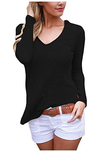 Issza Damen V-Ausschnitt Hoodies Pullover Langarm Strick Bluse Tops T-shirt Kapuze Pullover Oberteile Tunika Passen Sie Ihr Eigenes T-shirt