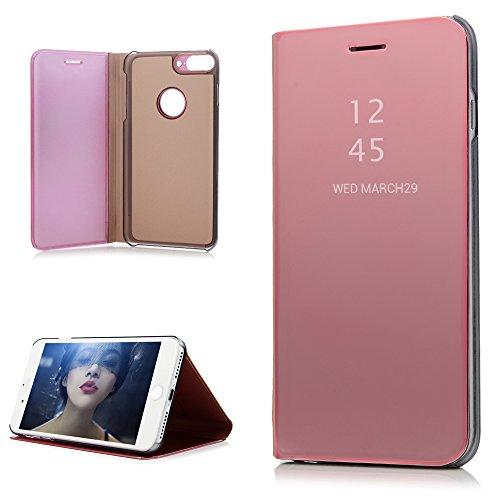 """iPhone 7 plus 5.5"""" Hülle Badalink Gold Überzug Spiegel Handyhülle Case Cover Flip Case Schutzhülle Ständer Handytasche mit Eingabestifte Gold"""