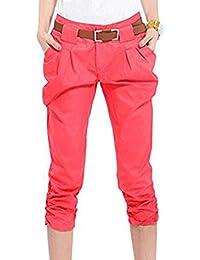 127194c3ddc303 Huateng Pantalone Corto da Donna Pantalone Stile Harem Pantalone  Elasticizzato Pantalone Misto Cotone Color Panna Slim