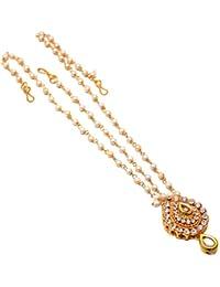 Geode Delight Gold Plated Kundan Tipe Rajasthani Rajputi Matha Patti Maang Tikka Jewelry For Women & Girls