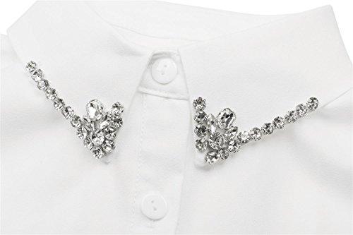 styleBREAKER Blusenkragen Einsatz mit Knopfleiste und Strass, verzierter Kragen für Blusen und Pullover, Damen 08020001 Weiß