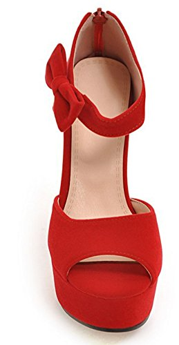 Aisun Damen Peep Toe Plateau Schleife Trichterabsatz High Heels Sandale Mit Reißverschluss Rot