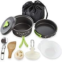 PopHMN Kit de Utensilios de Cocina para Acampar, Juego de Cocina liviano para ollas y sartenes para ollas con Bolsa de Nylon portátil para Acampar Senderismo