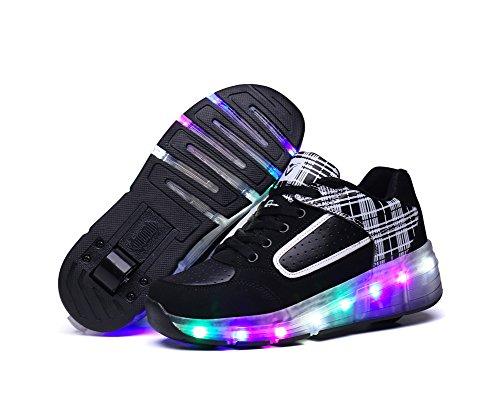 Feicuan Unisex Kinder Adult LED Leuchtend Sportschuhe Roller Wheel Turnschuhe Skate Schuhe Black-White