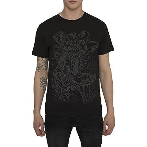 Maglietta Nera da Uomo, T Shirt Fashion Rock Tattoo Style, Maglia con Stampa - METAL MEDUSA Designer Magliette di Cotone, Girocollo, Manica Corta, Maglie Moda Urban Cool per Uomo, S M L XL XXL