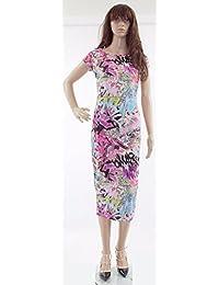 Printed Womens Midi Dress Bodycon Cap Sleeve Top Dresses Aztec Print Summer Cute