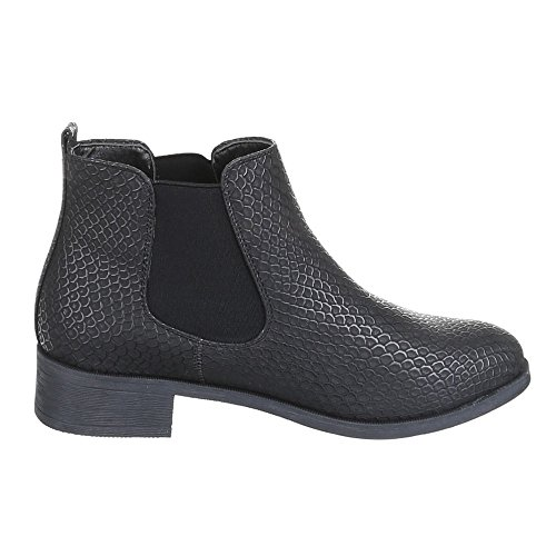 Damen Schuhe, B2921-KB, GEFÜTTERTE BOOTS STIEFELETTEN Schwarz