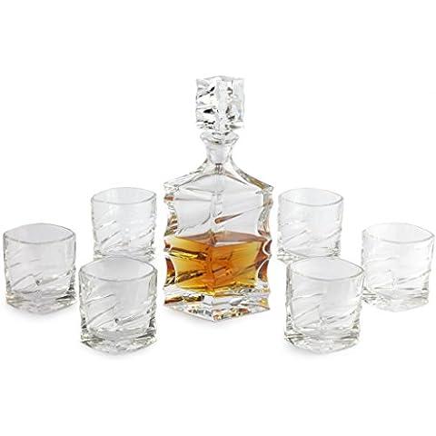 A.P. Donovan - Whisky Decanter Set - 7 pezzi - con 1 decanter + 6 bicchieri - regalo speciale per intenditori - con chiusura - 800ml - Fries
