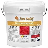 IMPER POLIURETANO de Tecno Prodist - 4 Kg (ROJO) Membrana de Poliuretano Impermeabilizante para Terrazas muy elástica - Alta calidad y resistencia a la intemperie (A Rodillo o brocha)
