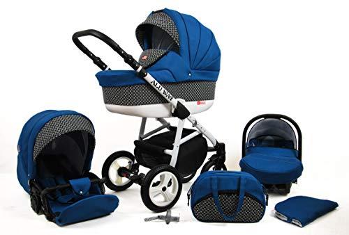 Kinderwagen BABYLUX ALU WAY INDYGO, 3 in 1- Set Wanne Buggy Babyschale,Muffe