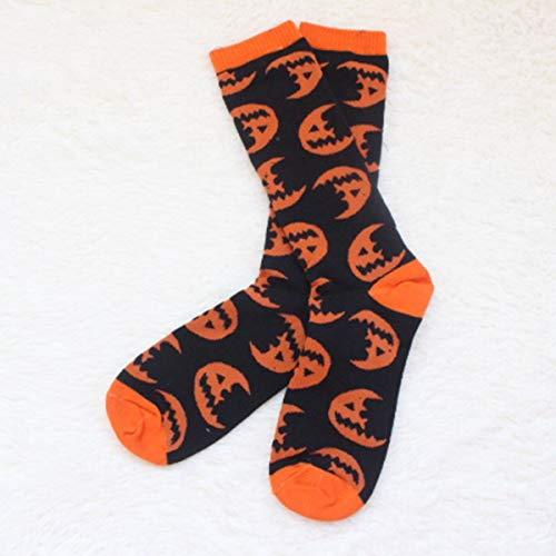 Jinxuny Kürbis-Muster-Spaß-Neuheit-beiläufige Socken Bequeme leichte atmungsaktive Socken für Festival Halloween und andere Festival-Frau/Mann (Color : Half-Moon Pattern) -