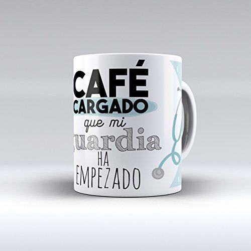 Taza cerámica desayuno regalo original profesión médico 'Café cargado que mi guardia ha empezado'
