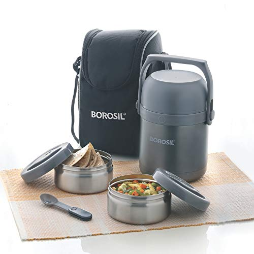 Borosil Hydra Hot-N-Fresh Stainless Steel Lunch Box Set, 3-Pieces, Silver