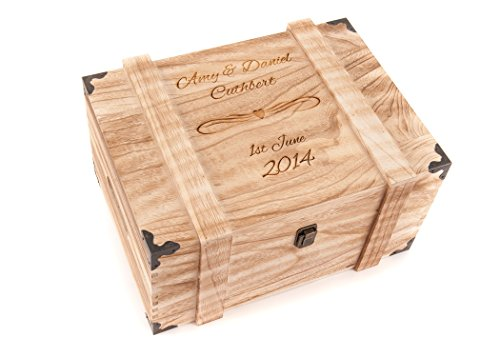 Hoolaroo Personalised Engraved Baby Wooden Birth Keepsake Memory Chest Memory Box Vintage Case