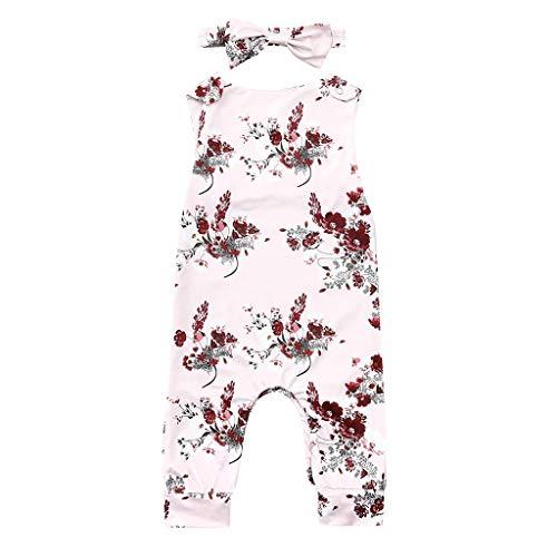 Pwtchenty baby Kleinkind Blumen+Stirnband Kleidung Kinder äRmelloses Overall Tops Romper Sommer Prinzessin Outfits