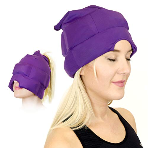 cappello per emicrania e mal di testa - maschera cappello refrigerante per sollievo di emicrania e tensioni. elastico, confortevole, scuro e fresco (di magic gel)