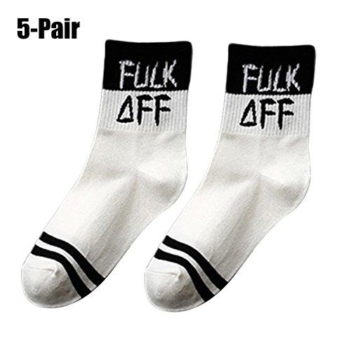 Briefe Baumwollsocken, Fascigirl 5 Paar Damen Crew Socken Lustige Printed Socken LäSsige Athletische Socken