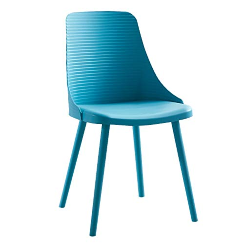 LXQGR Plastikgartenstühle, speisender Stuhl-Satz der Stuhl-dekorativen Küche ohne Unterstützungsergonomische Rückenlehne, Eisen-Füße galvanisieren-einfacher moderner Stil (Color : Blue)