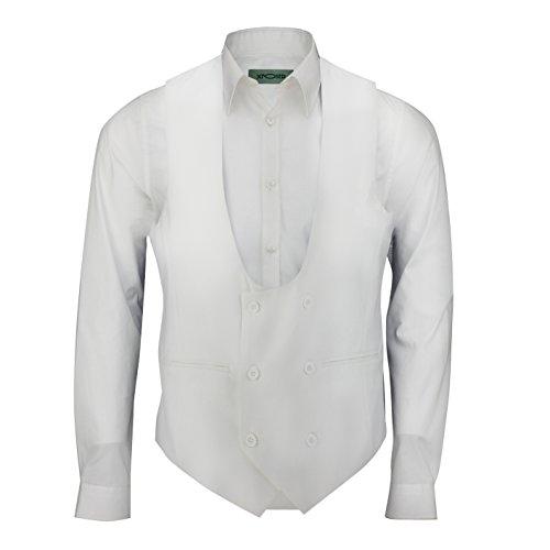 Gilet croisé pour homme ajusté, très échancré en U pour style décontracté ou formel, avec smoking ou costume Blanc