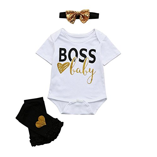 Cyond Rompers Suit for Baby, 3Pcs Newborn Infant Baby Girls Boys Letter Bodysuit Romper+Pair Leg Warmer+Headbands Outfits Set Summer Casual Party Children Clothes Set
