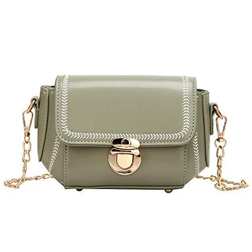 TIFIY Damen Rucksack Mode Women's Solid Color Chain Schultertasche Messenger Bag Handytasche Arbeits Täglich Bankett Elegant Tasche(Grün) -