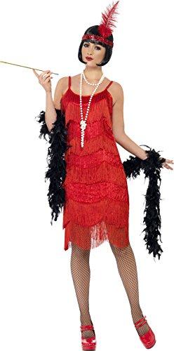 Smiffys, Damen Flapper Shimmy Kostüm, Kleid und Stirnband, Größe: M, (Kostüme Fashion (rot) Adult Flapper)