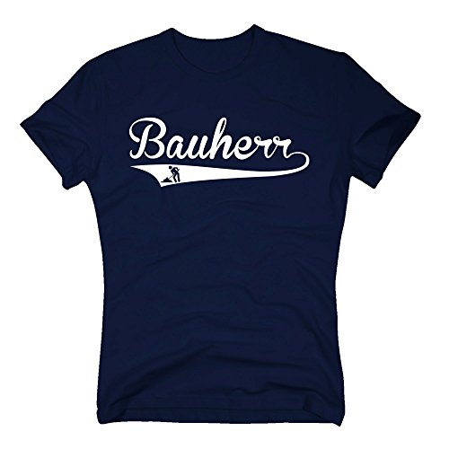 T-Shirt Bauherr Style Richtfest Hausbau Gleichenfeier Bau Baustelle DIY, XL, dunkelblau-weiss