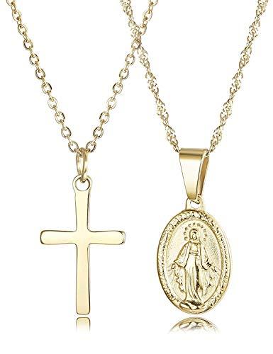 Finrezio 2 Stücke 14K Vergoldet Halsketten mit Anhänger Madonna und Kreuz aus Edelstahl für Damen Frauen Christen Goldfarbe Kette Muttergottesbild