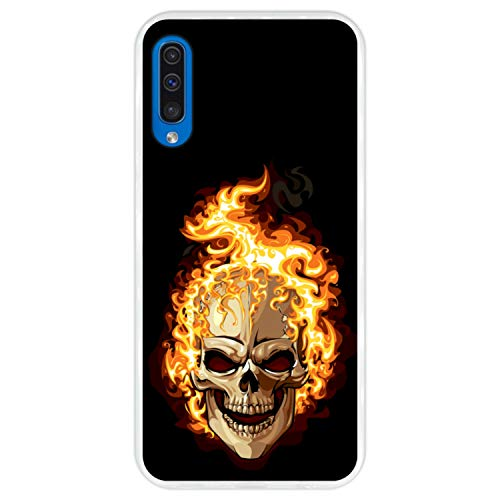 Hapdey silikon Hülle für [Samsung Galaxy A50 2019] Design [Brennender Schädel] Transparenz Flexibles TPU (Halloween 2019 Fotos)