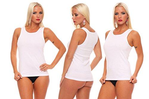 Good Deal Market 16-er Pack Damen-Unterhemd Gr. 56/58 weiß ohne Spitze 100% Baumwolle Feinripp weich und atmungsaktiv