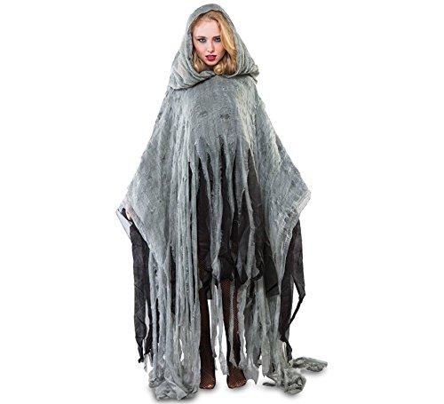 Fyasa 107403Zombie Poncho Kostüm, groß, 170cm (Kostüm Damen Gespenst)