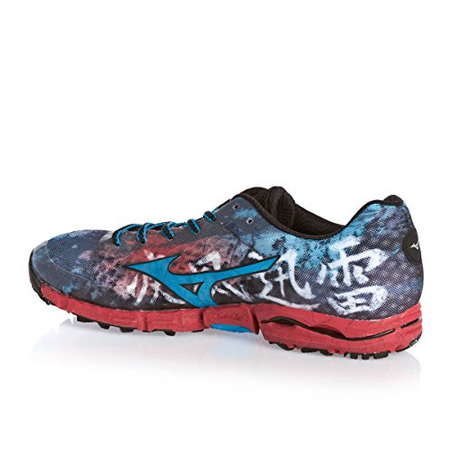 Mizuno Wave Hayate Black Diva Blue Chinese Red