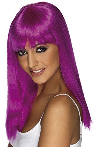 Smiffys, Damen Glamour Perücke mit Pony, One Size, Neon Lila, 42162