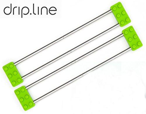 Sanni Shoo - drip.line 3 in 1 - multifunktionaler Abtropfer für die Küche – Größe verstellbar - Design Abtropfgestell Untersetzer Spültuchhalter Abtropfgitter Ordnungshelfer für Spülbecken (Grün Doppelpack)