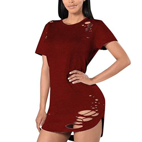 LAEMILIA Damen Minikleid O-Ausschnitt Kurzarm Rundhals Loch Casual Kleid Party Abend Dress Stretch Bodycon Tunikakleid Rot
