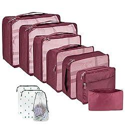 Packwürfel für Koffer, 10 Stück Koffer-Organizer, hochwertiger Koffer, Reise-Organizer, Handgepäckverpackung, Würfel-Set für Reisen Rot weinrot 10 Stück