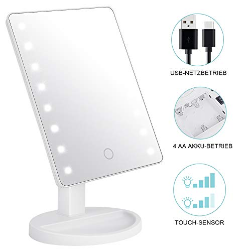 KYG Schminkspiegel mit 16 LEDs Beleuchtung, USB Wiederaufladbarer Kosmetikspiegel,  batteriebetrieber Tischspiegel, dimmbarer Make up Spiegel Standspiegel, Weiß
