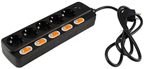 Preisvergleich Produktbild 5-fach Steckdosenleiste einzeln schaltbar schwarz
