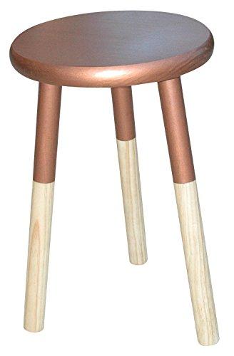 TABURETE de MADERA (Color Cobre y Pino Natural), Mesa Auxiliar, Mesita de Noche, Mesa Baja. Taburete para Niños, Estilo Vintage, Pino Nórdico Macizo - LIZA - 30 x 46cm