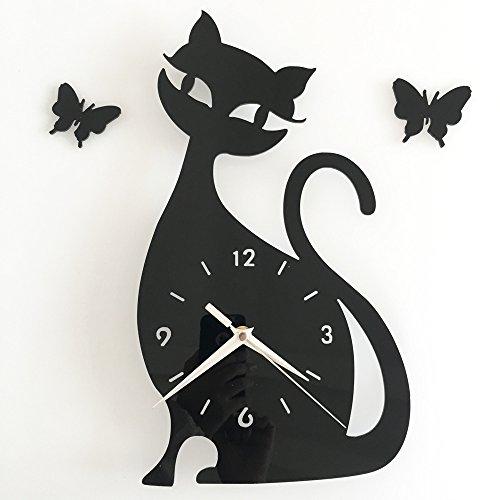BCKWORLD-1 Wohnzimmer DIY Kunst Wanduhr Wandaufkleber Uhr Charakter Animation Modellierung Home Handwerk Wanduhr Schwarz